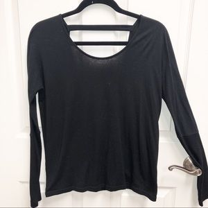 ONZIE Black Long Sleeve Crossover Open Back Top